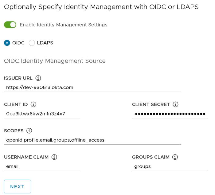 OIDC configuration